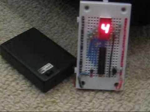 PICAXE-20M + 7 Segment LED + DS18B20