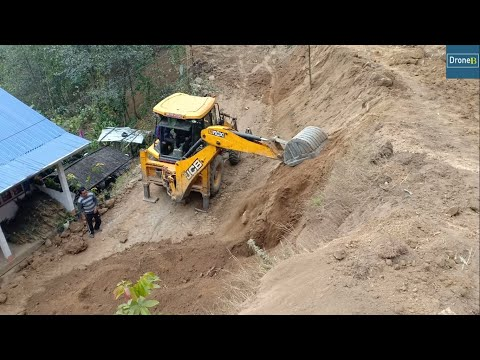 Hilly School Road Construction-JCB Backhoe Loader-Skillful Operator