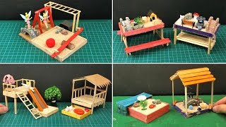 7 Easy Popsicle Stick Crafts | Miniature Playhouse & Sandbox - Toys for Kids