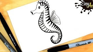Como dibujar un caballito de mar| How to draw a sea horse| Easy art