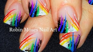 Sponge Nail Art | Beginner Technique + Rainbow stripes | DIY Nails Design Full Tutorial