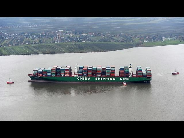 One of world's biggest container ships stranded on German river