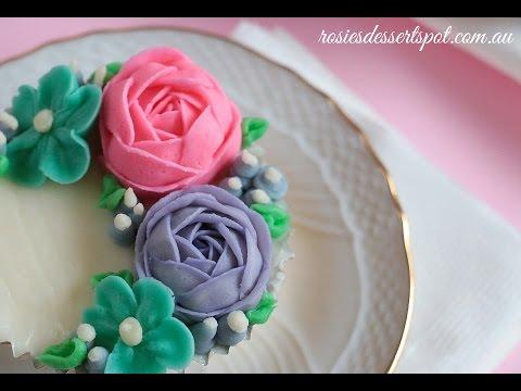 Как сделать цветы на торт кремом