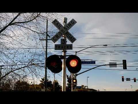 Mercantile Drive Railroad Crossing Double Train Pass SACRT Light Rail