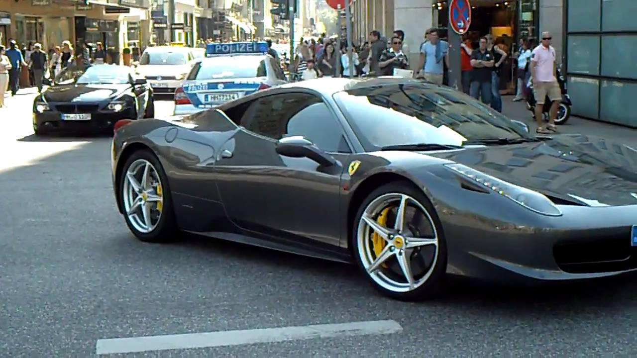 Grey Ferrari 458 Italia With Very Very Loud Sound Youtube