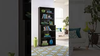 SAVE 6-Shelf Premium Hutch Bookcase, Black Walnut