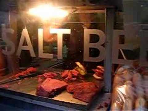 Making salt beef bagels in Brick Lane