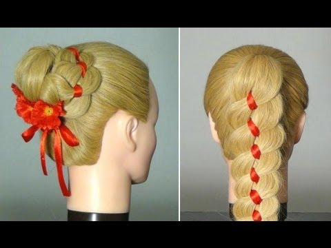 Плетение косы из 4-х прядей с лентой. Ribbon Braid Hairstyle tutorial