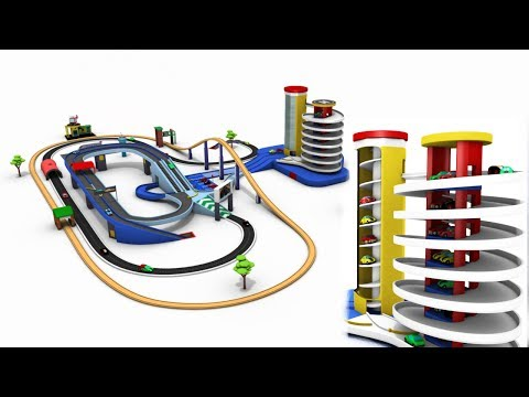 car cartoon for children - car parking for kids - toy cars - cartoon cars - trains for children