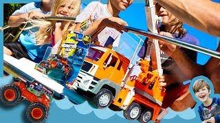 Toy Crane Truck for Kids Fishes for Monster Trucks