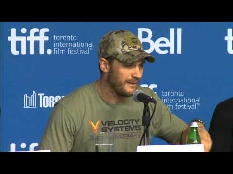 Tom Hardy at the press conference for The Drop