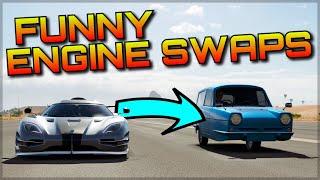 FUNNY ENGINE SWAPS #2 | Forza Horizon 3 Dev Mods | VTEC Veyron, FXXK GTR & more!