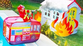 ALİ EVİ SÖNDÜRDÜ 🚒 Kids Pretend Play with Fire Truck