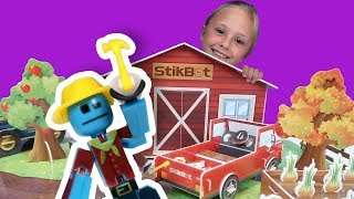 Unboxing and Making Stikbot Farm Movie Set and Video - The Hoopsters