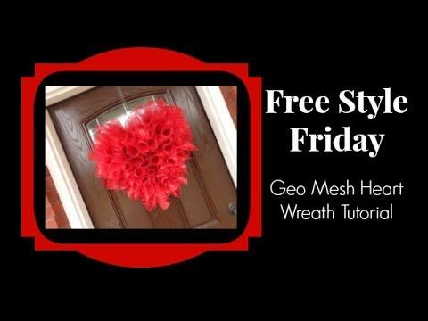 geo deco mesh valentine heart wreath tutorial youtube