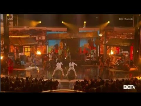 Triplets Ghetto Kids perform with French Montana and Swae Lee at BET 2017
