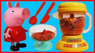 小豬佩奇佩佩豬的榨汁機玩具,太空沙也能變奶昔冰淇淋