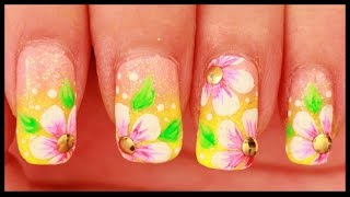 Pink Flowers on Neon Yellow nail art