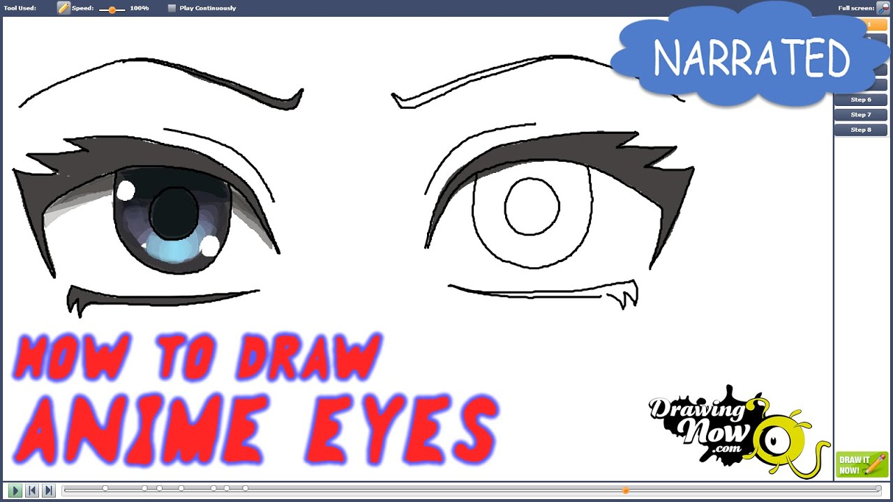 How to draw easy anime eyes step by step
