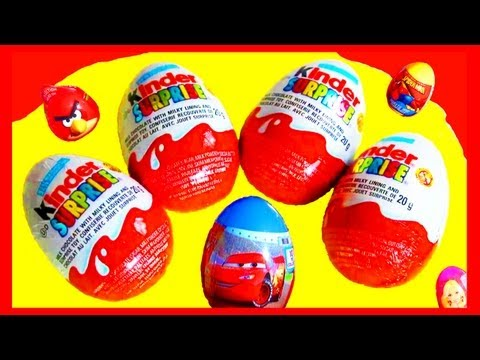 8 Surprise Eggs Kinder Surprise Angry-Birds Disney Pixar Cars 2 Hot-Wheels Marvel Spider-Man Barbie!