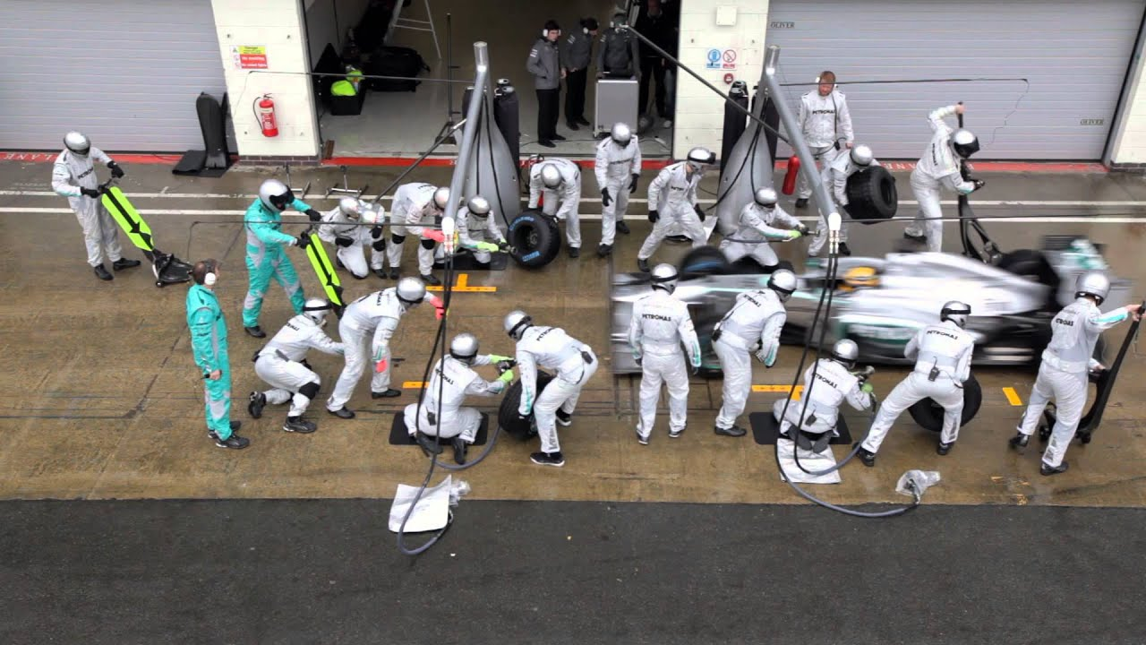 F1 2013 Mercedes Amg Pit Stop Training With Hamilton