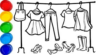 Vẽ quần áo thời trang tô màu cho bé - Dạy bé vẽ tô màu - Glitter Fashion set drawing and coloring