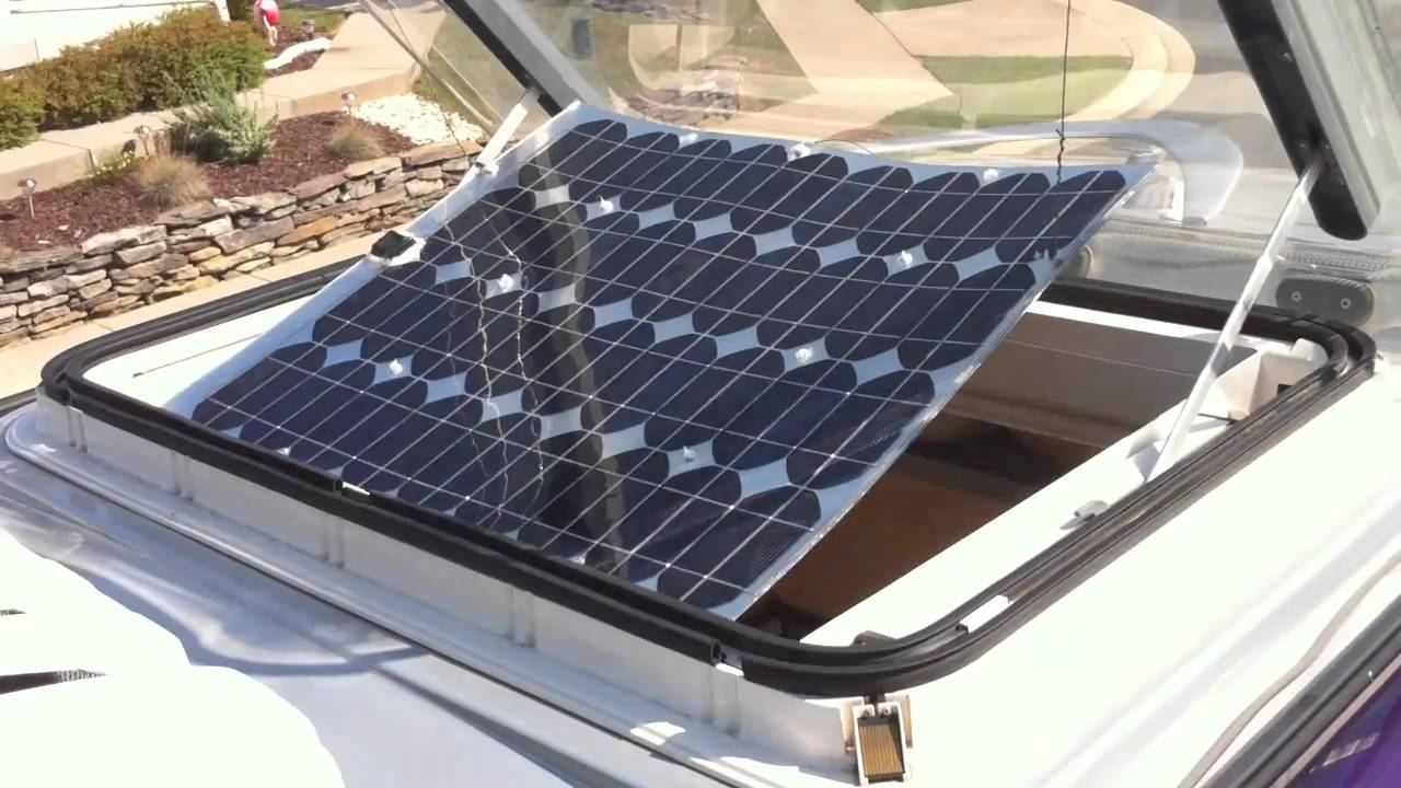Solar Panel In Skylight Opening Of Westfalia Sprinter