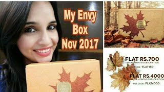 My Envy Box November 2017 || Unboxing & Review || Coupon Code for Discount ||