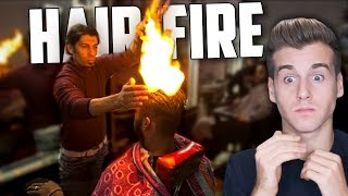 Barber Sets Customer's Hair On Fire