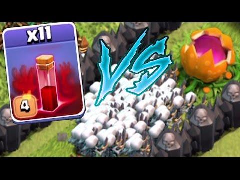 Clash Of Clans -  11 SKELETON SPELLS Vs. PUMPKIN MAZE BASE!! (Maze troll attacks!!)