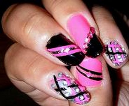Hot Pink and Black Nail Design Tutorial! Video