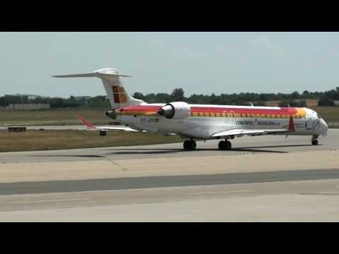 CRJ900 Iberia Régional (EC-JZV) line up and  take off at Lyon St Exupéry [LYS/LFLL]