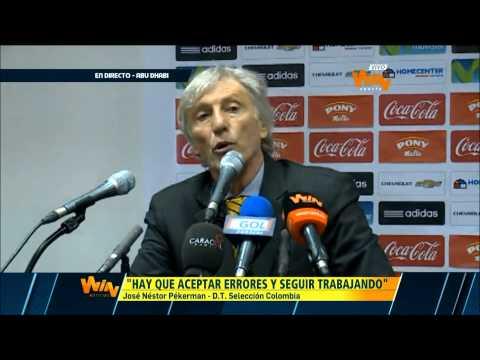 José Pékerman en rueda de prensa, luego del  compromiso de Colombia frente a Kuwait