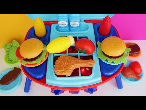 Toy Barbecue Grill Velcro Cutting vegetables Peel and play Cooking Playset BBQ