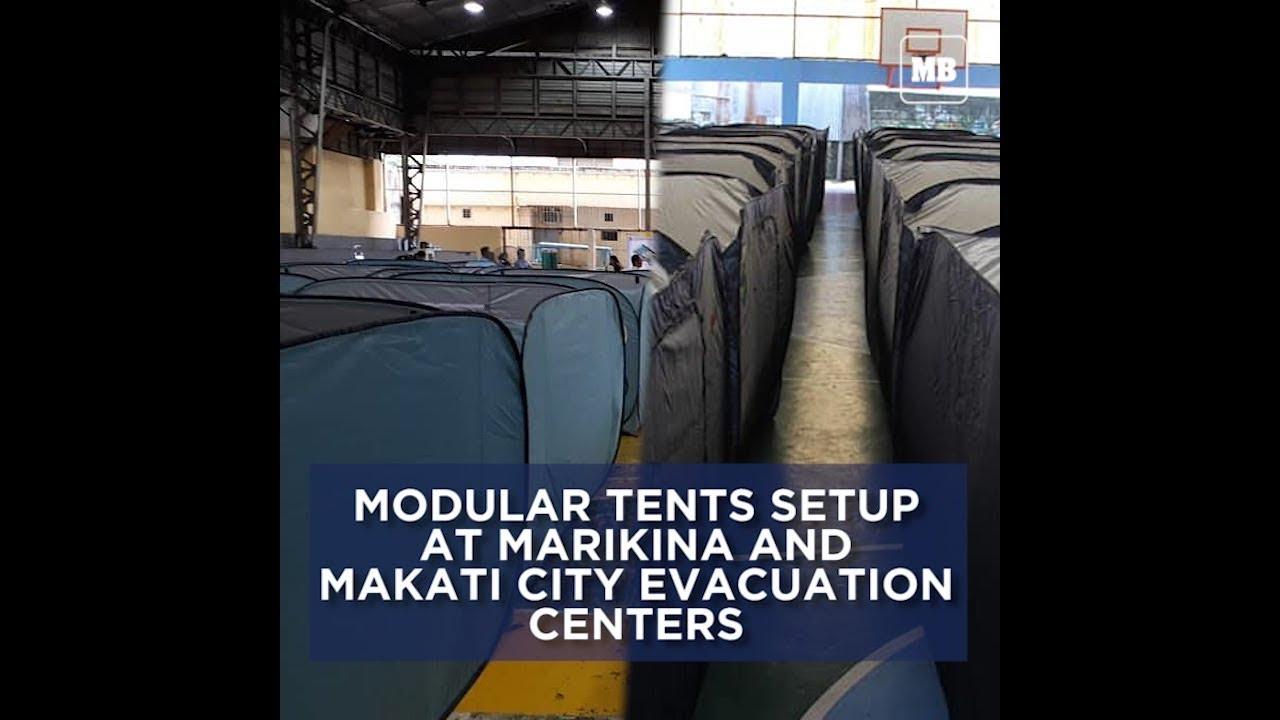 Modular tents setup at Marikina and Makati City evacuation centers