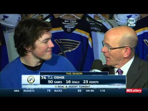 T.J. Oshie post game interview @ 0:40 mins. Boston Bruins vs St. Louis Blues Feb 20 2015 NHL