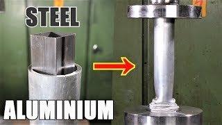 Crushing Nested Pipes with Hydraulic Press