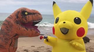 Pikachu Vs. T-Rex: Beach Fight!