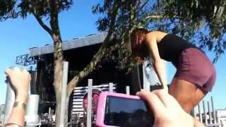 cute girl fails to climb fence