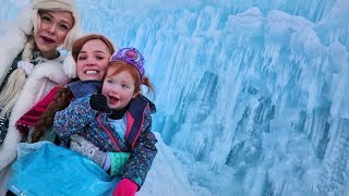 FROZEN iCE CASTLES in real life!! Adley meets Disney Princess Anna and Elsa!