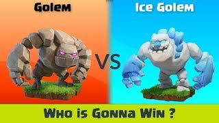 Who is Gonna Win this Epic Battle ? Golem vs Ice Golem | Clash of Clans Troops Competition