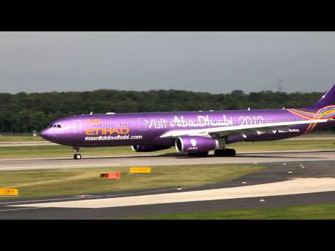 "Another video with only the ""larger"" aircraft landing at and taking off from Düsseldorf International Airport. 02-09-2012 Some highlights in the video: Etiha..."