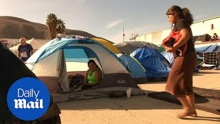 Migrants go on hunger strike at the Tijuana border crossing