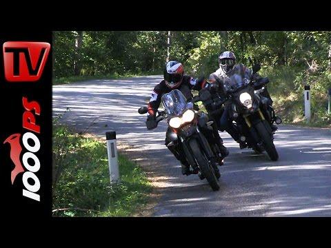 Suzuki V-Strom 1000 vs Triumph Tiger 800 XC   Gel�ndetauglichkeit, Action, Fazit