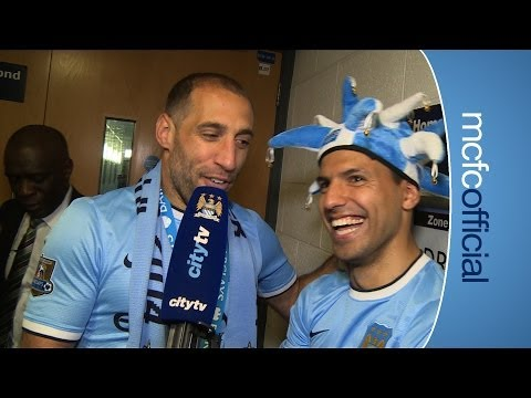 KUN AGUERO INTERVIEWED BY ZABALETA | City v West Ham Champions 2014