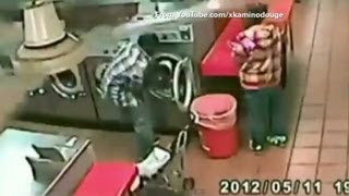Man stuffs baby in spinning washer