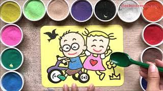 Đồ chơi trẻ em TÔ MÀU TRANH CÁT HAI BẠN NHỎ ĐẠP XE - Sand painting couple toys kids (Chim Xinh)