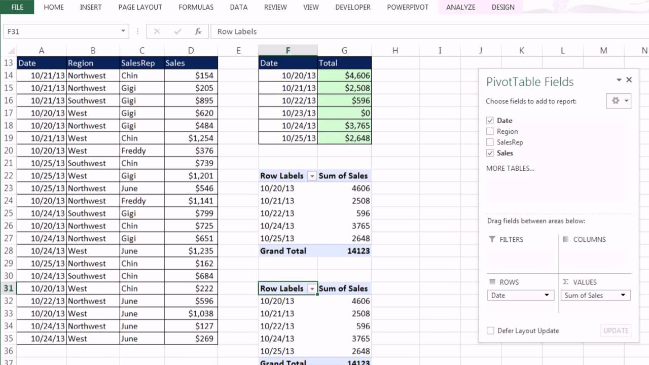 office 2013 class  22  excel basics 04  pivottables are easy  sumifs or pivottable for region