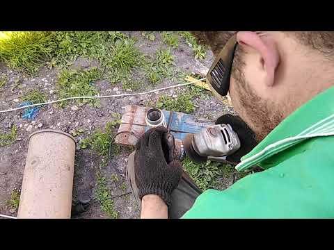 Установка гофры на глушитель Хёндай HD 78
