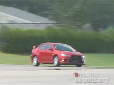 Mitsubishi EVO X Road Test at Consumer Reports test track